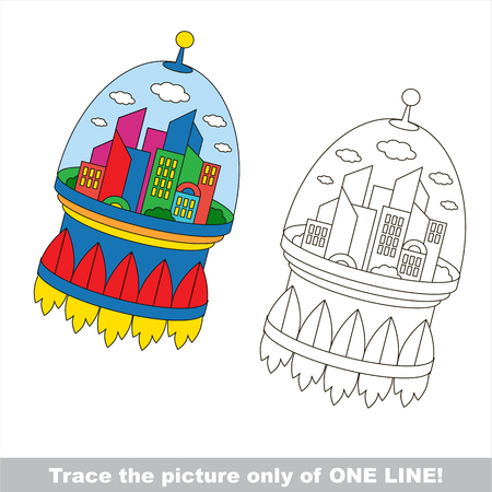 joining the dots: Rocket City. Dot to dot educational game for kids. trace only of one line. Illustration