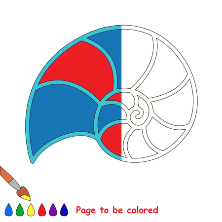 Nautilus Shell, the coloring book to educate preschool kids with easy gaming level, the kid educational game to color the colorless half by sample.
