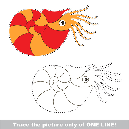 Beautiful Nautilus. Dot to dot educational game for kids. trace only of one line. Illustration