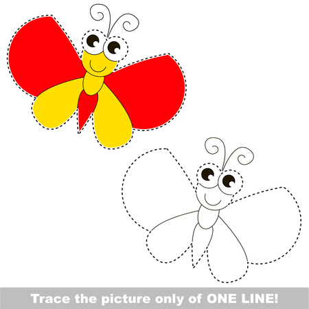 Batterfly. Dot to dot educational game for kids. trace only of one line. Illustration