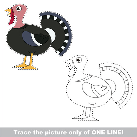 Beautiful Turkey. Dot to dot educational game for kids. trace only of one line.