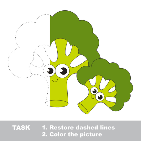 Two Cute Broccolies. Dot to dot educational game for kids. Half tracing page.