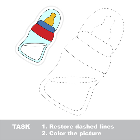 pondering: Small Baby Bottle. Dot to dot educational game for kids. Illustration