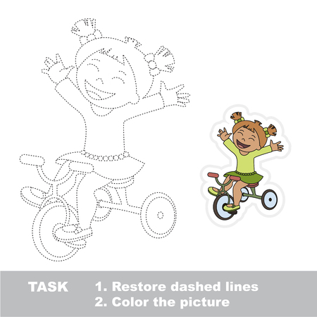 Sport Bicycle Girl. Dot to dot educational game for kids. Illustration
