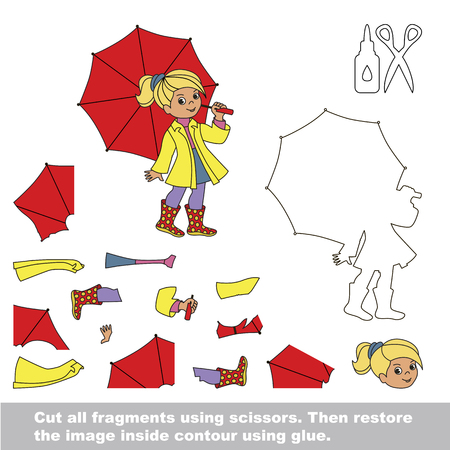 Use scissors and glue and restore the picture inside the contour. Easy educational paper game for kids. Simple kid application with Autumn Girl with Red Umbrella