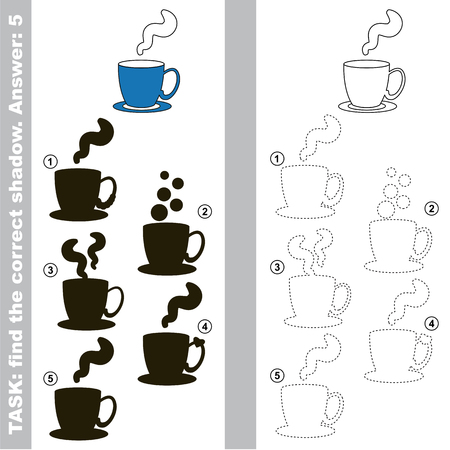 Coffee Cup with different shadows to find the correct one, compare and connect object with it true shadow, the educational kid game with simple gaming level.