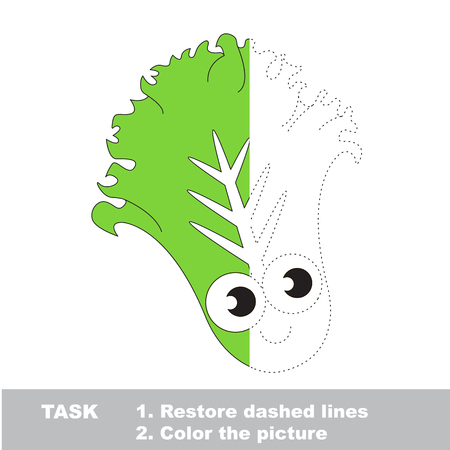 joining the dots: Cute Lettuce. Dot to dot educational game for kids. Half tracing page.