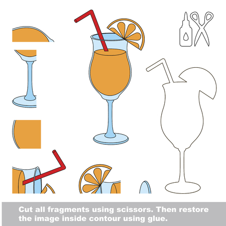 Use scissors and glue and restore the picture inside the contour. Easy educational paper game for kids. Simple kid application with Drink Orange Juice Illustration