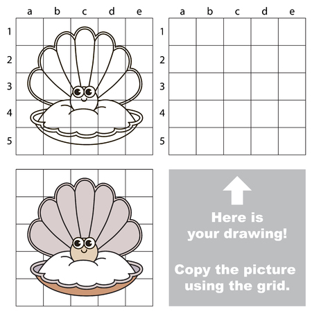 Copy the picture using grid lines, the simple educational game for preschool children education with easy gaming level, the kid drawing game with Funny Pearl in Oyster Illustration