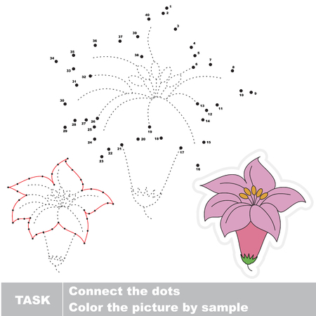 Pink Lilly. Dot to dot educational game for kids.