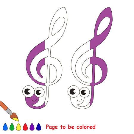 Funny Treble Clef, le livre de coloriage pour éduquer les enfants d'âge préscolaire avec un niveau de jeu facile, le jeu éducatif pour enfants pour colorier la moitié incolore par échantillon. Banque d'images - 79066947