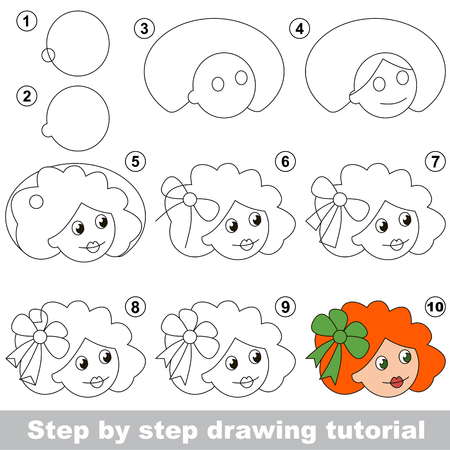 Kid game to develop drawing skill with easy gaming level for preschool kids, drawing educational tutorial for Doll Girl Face Ilustração
