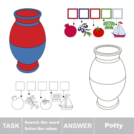 Educational puzzle game for kids. Find the hidden word Potty