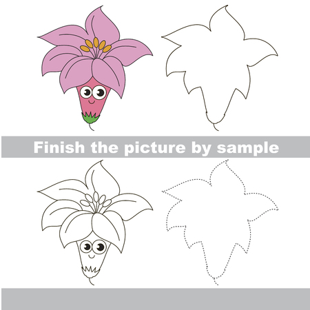 Drawing worksheet for preschool kids with easy gaming level of difficulty, simple educational game for kids to finish the picture by sample and draw the Pink Cute Lily Ilustracja
