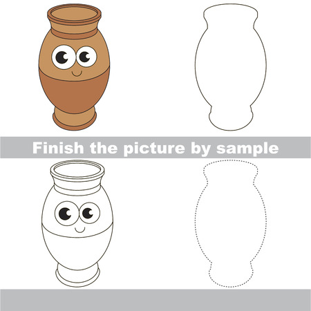 funny pictures: Drawing worksheet for preschool kids with easy gaming level of difficulty, simple educational game for kids to finish the picture by sample and draw the Potty Illustration