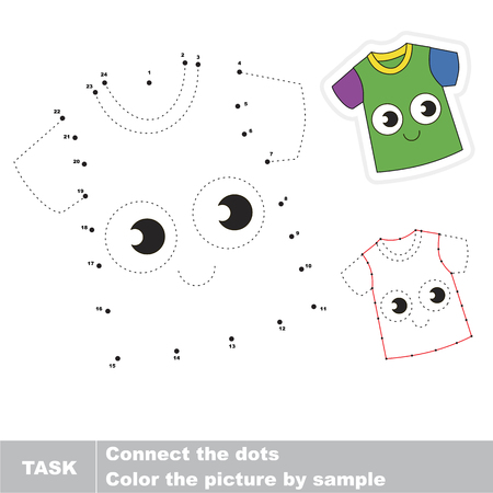 joining the dots: Cute T-Shirt. Dot to dot educational game for kids.