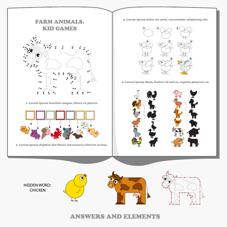Farm Animals Collection, the encyclopaedia page for preschool nerdy children handbook. Game set - find hidden word and correct shadows, drawing tutorial and numbers playing, and dot to dot educational game for kids.