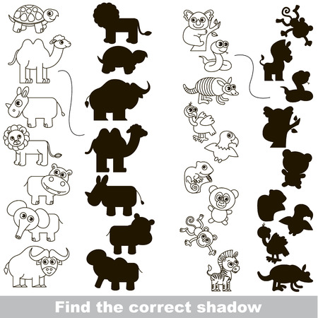 Animales salvajes incolores Set con diferentes sombras para encontrar la correcta, comparar y conectar objeto con ella verdadera sombra, el juego educativo niño con nivel de juego simple. Ilustración de vector