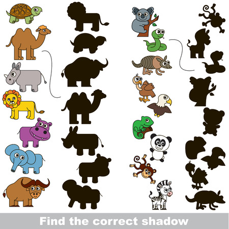 Colorful Wild Animals Set with different shadows to find the correct one, compare and connect object with it true shadow, the educational kid game with simple gaming level.