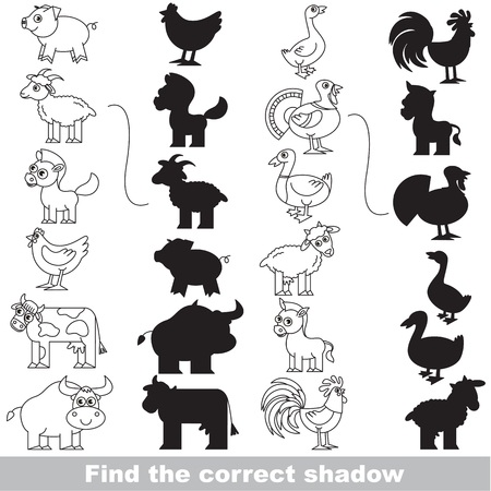 horse cock: Colorless Farm Animals Set with different shadows to find the correct one, compare and connect object with it true shadow, the educational kid game with simple gaming level.