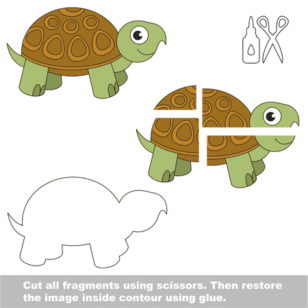 Use scissors and glue and restore the picture inside the contour. Easy educational paper game for kids. Simple kid application with Beautiful Turtle Illustration