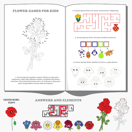 Big Flower Set, the encyclopedia page for preschool nerdy children handbook. Game collection - find hidden word and maze way, and numbers playing, and dot to dot educational game for kids. Illustration