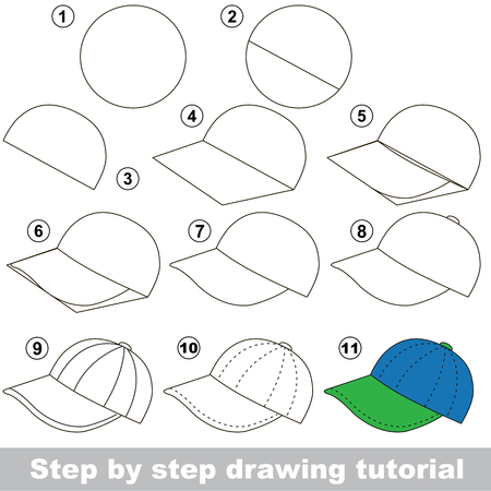 Kid game to develop drawing skill with easy gaming level for preschool kids, drawing educational tutorial for Cap Illustration