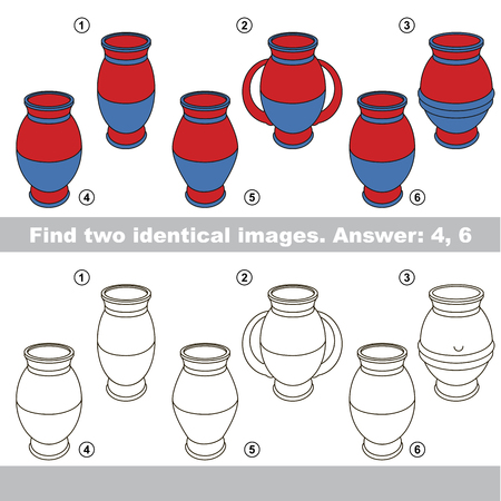 The educational kid matching game for preschool kids with easy gaming level, he task is to find similar objects, to compare items and find two same Vases