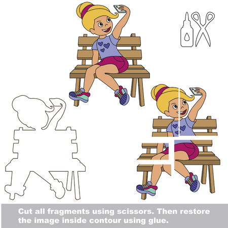 Use scissors and glue and restore the picture inside the contour. Easy educational paper game for kids. Simple kid application with Selfie Girl Illustration