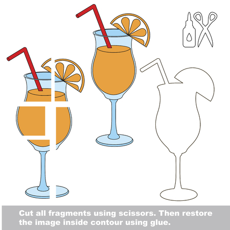 Use scissors and glue and restore the picture inside the contour. Easy educational paper game for kids. Simple kid application with Orange Juice in Glass with Orange Slice Illustration