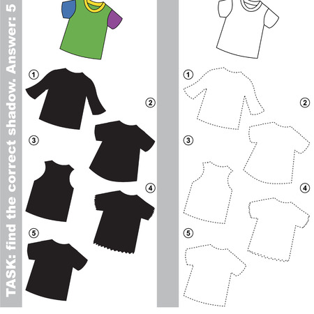 T-Shirt with different shadows to find the correct one, compare and connect object with it true shadow, the educational kid game with simple gaming level.