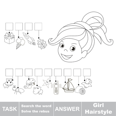 hid: Educational puzzle game for kids. Find the hidden word Girl Hairstyle