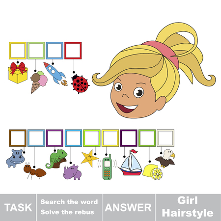 Educational puzzle game for kids. Find the hidden word Girl Hairstyle