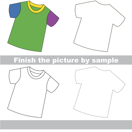 Drawing worksheet for preschool kids with easy gaming level of difficulty, simple educational game for kids to finish the picture by sample and draw the T-Shirt Ilustração