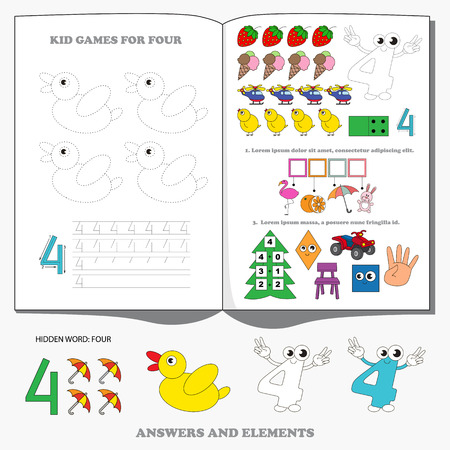 Large game set for figure Four. Dot to dot educational game for kids.