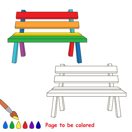 Colorful Bench to be colored, the coloring book for preschool kids with easy educational gaming level. Illustration