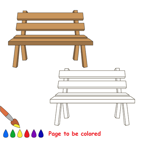 Wooden Bench to be colored, the coloring book for preschool kids with easy educational gaming level. Illustration