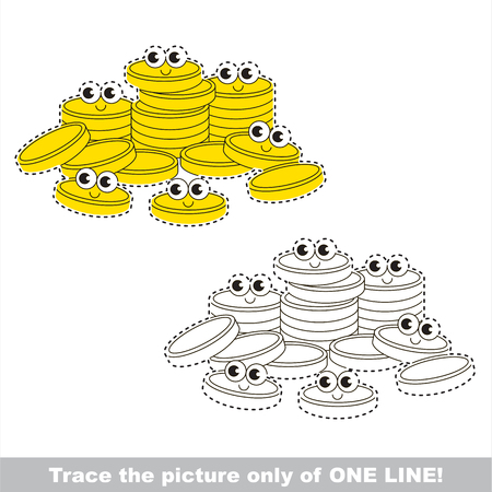 Happy Gold Coins to be traced only of one line, the tracing educational game to preschool kids with easy game level, the colorful and colorless version.