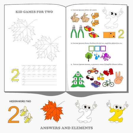 pastime: Large game set for figure Two. Dot to dot educational game for kids. Illustration
