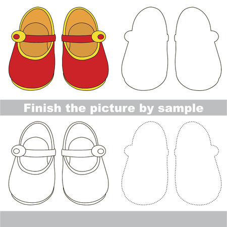 funny pictures: Drawing worksheet for preschool kids with easy gaming level of difficulty, simple educational game for kids to finish the picture by sample and draw the air Red Girl Shoes Illustration