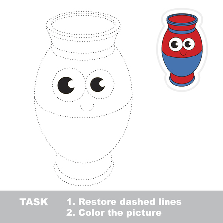pastime: Funny Vase. Dot to dot educational game for kids.