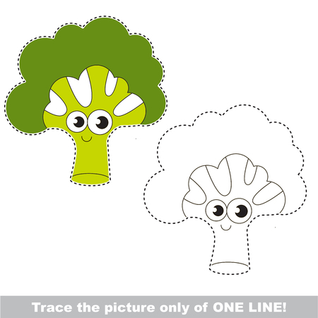 joining: Happy Green Broccili to be traced only of one line, the tracing educational game to preschool kids with easy game level, the colorful and colorless version.