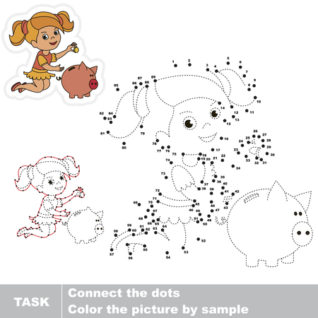 pastime: Cute Girl and Money Box. Dot to dot educational game for kids.