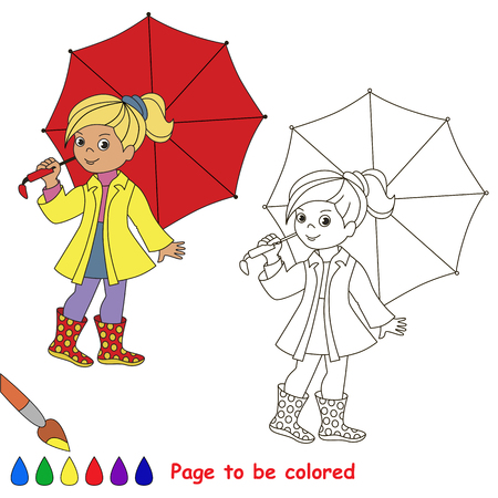 Girl and Red Umbrella to be colored, the coloring book for preschool kids with easy educational gaming level. Ilustracja