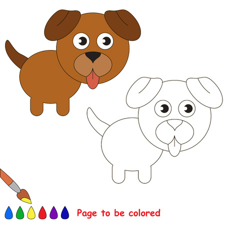 Pet dog puppy to be colored, the coloring book for preschool kids with easy educational gaming level. Illustration