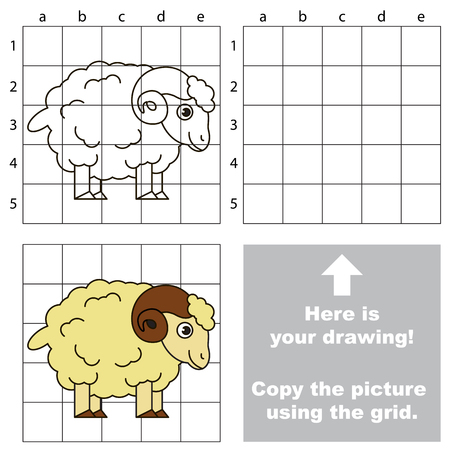 bighorn: Copy the picture using grid lines, the simple educational game for preschool children education with easy gaming level, the kid drawing game with Cute Bighorn Illustration