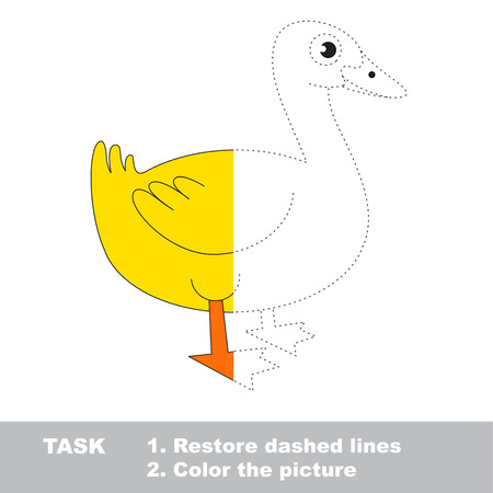 Yellow Farm Duck. Dot to dot educational game for kids. Illustration