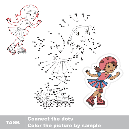 pondering: Cute Roller Girl. Dot to dot educational game for kids.