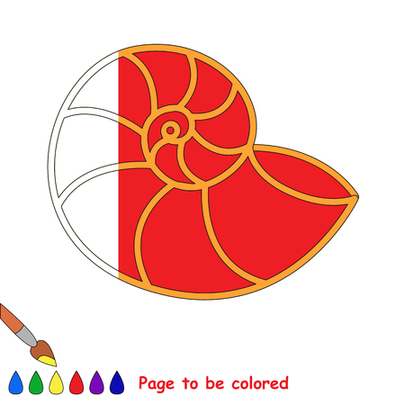 Red Nautilus, the coloring book to educate preschool kids with easy gaming level, the kid educational game to color the colorless half by sample. Illustration