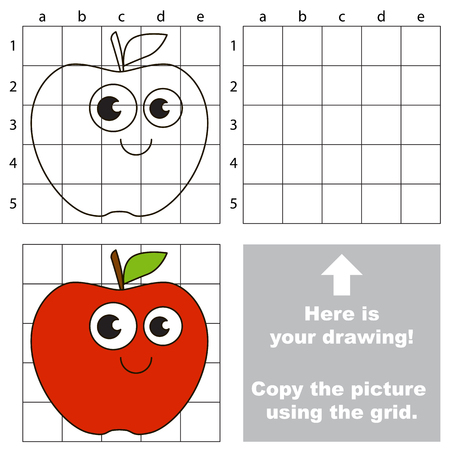 Copy the picture using grid lines, the simple educational game for preschool children education with easy gaming level, the kid drawing game with Funny Red Apple